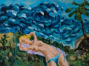 Oil on linen painting of nude female on beach by Nils Benson