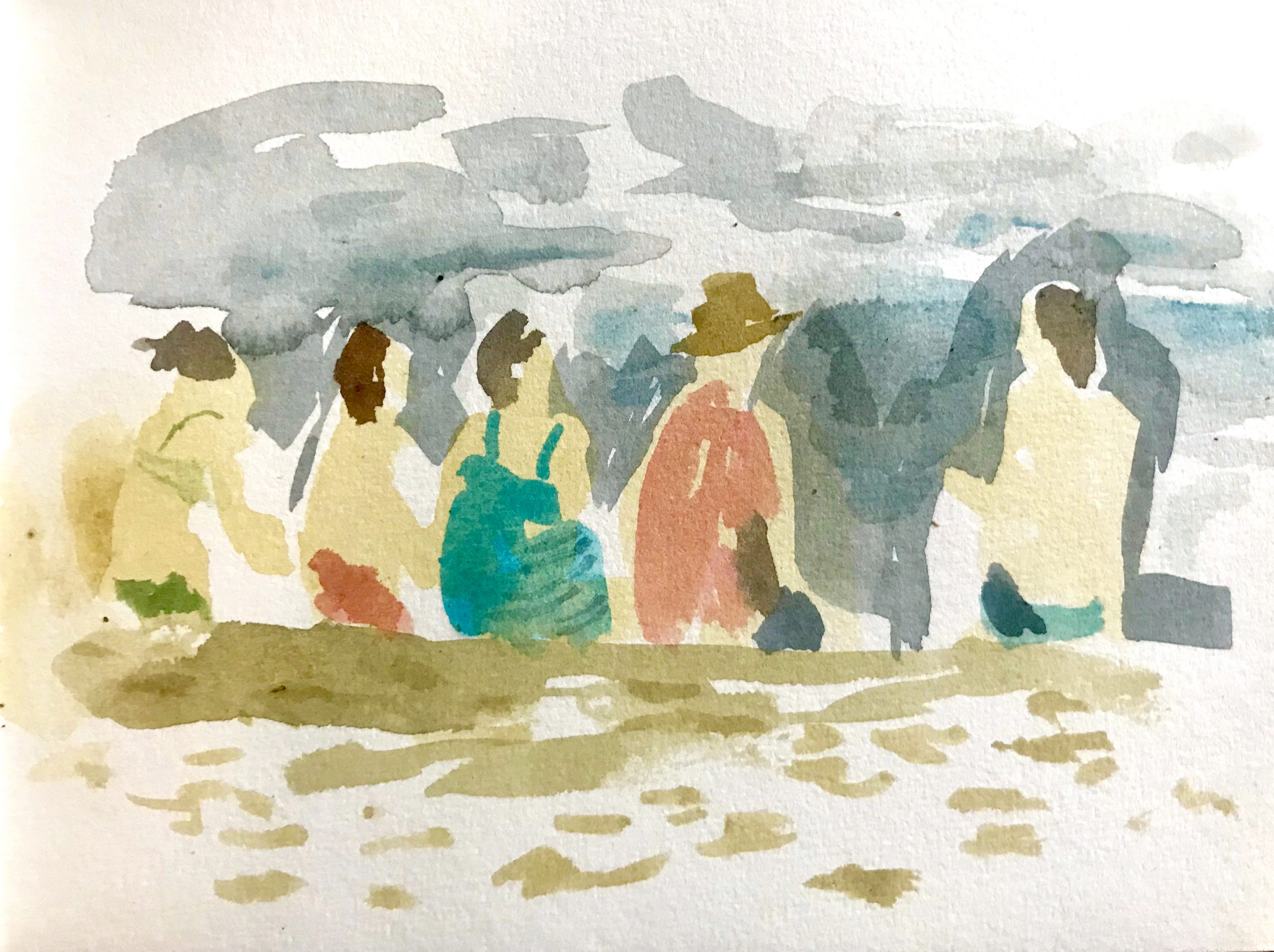 Water color painting of beach goers by Nils Benson
