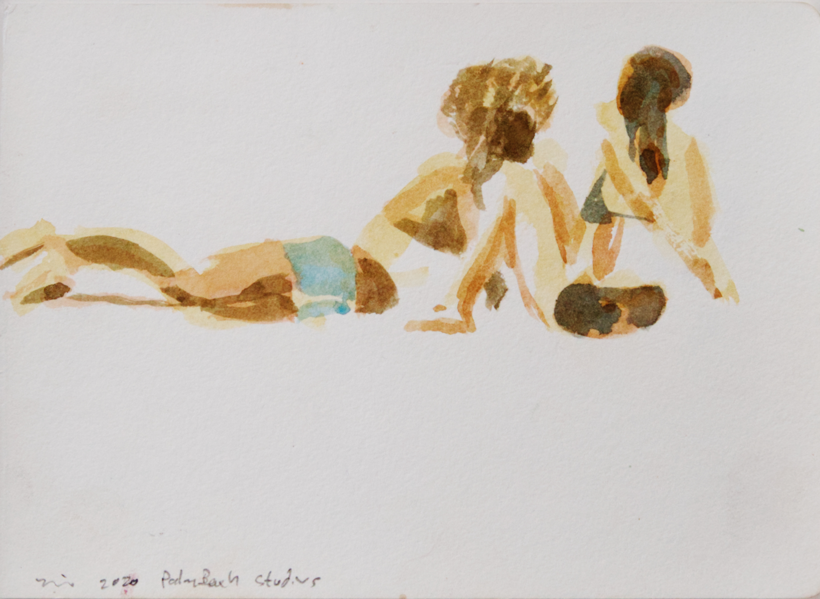 Water color painting of sun bathers by Nils Benson