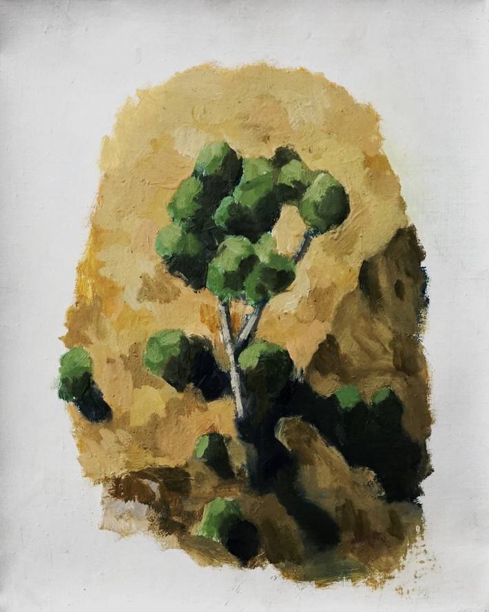 Painting of tree on side of cliff