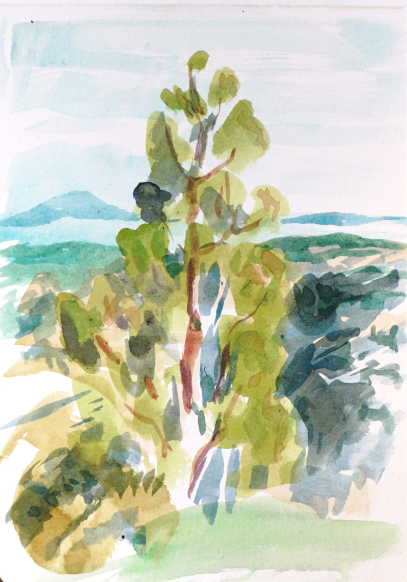 Water color painting of landscape with tree