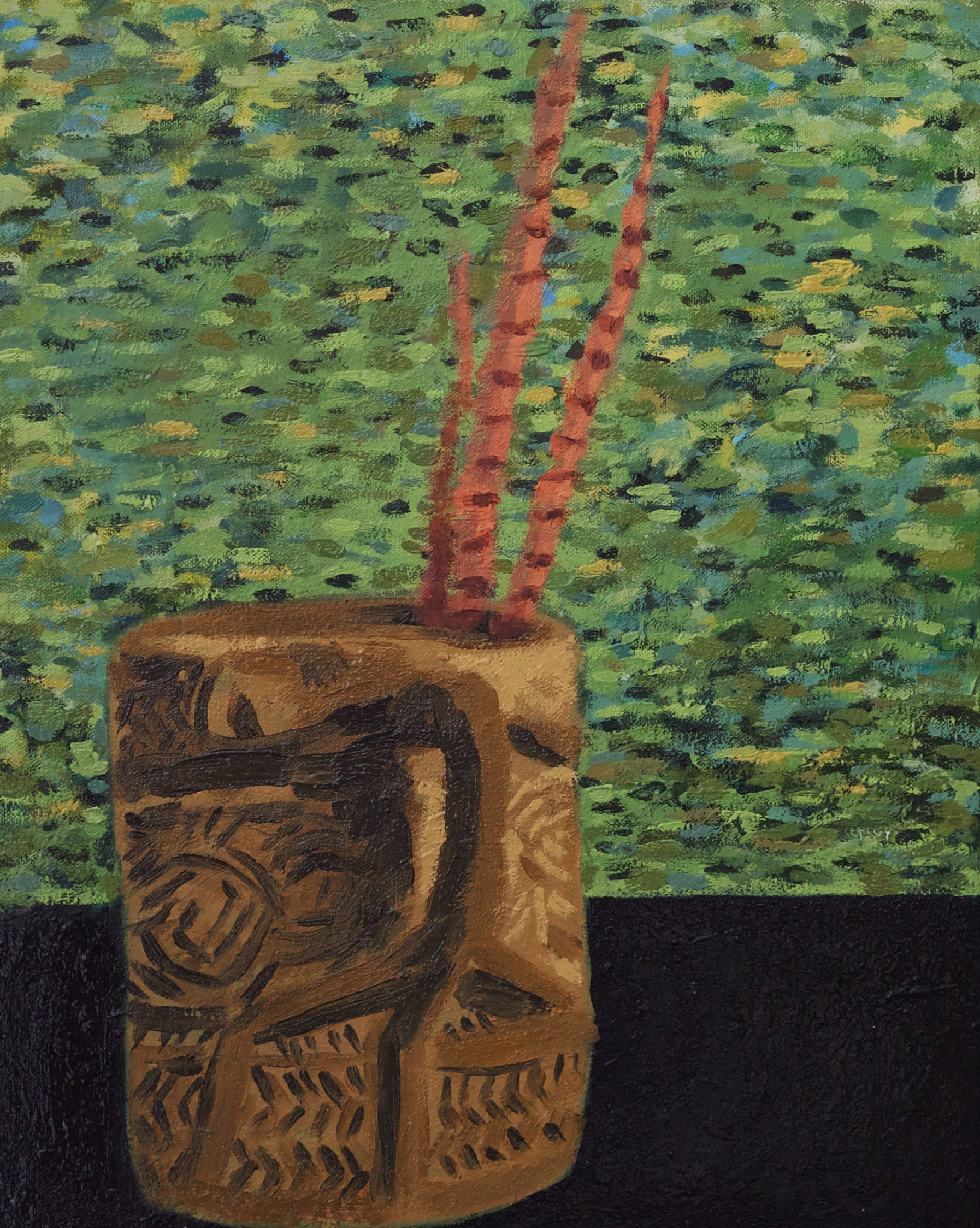 Oceanic Jug and Pheasant Feathers oil on canvas