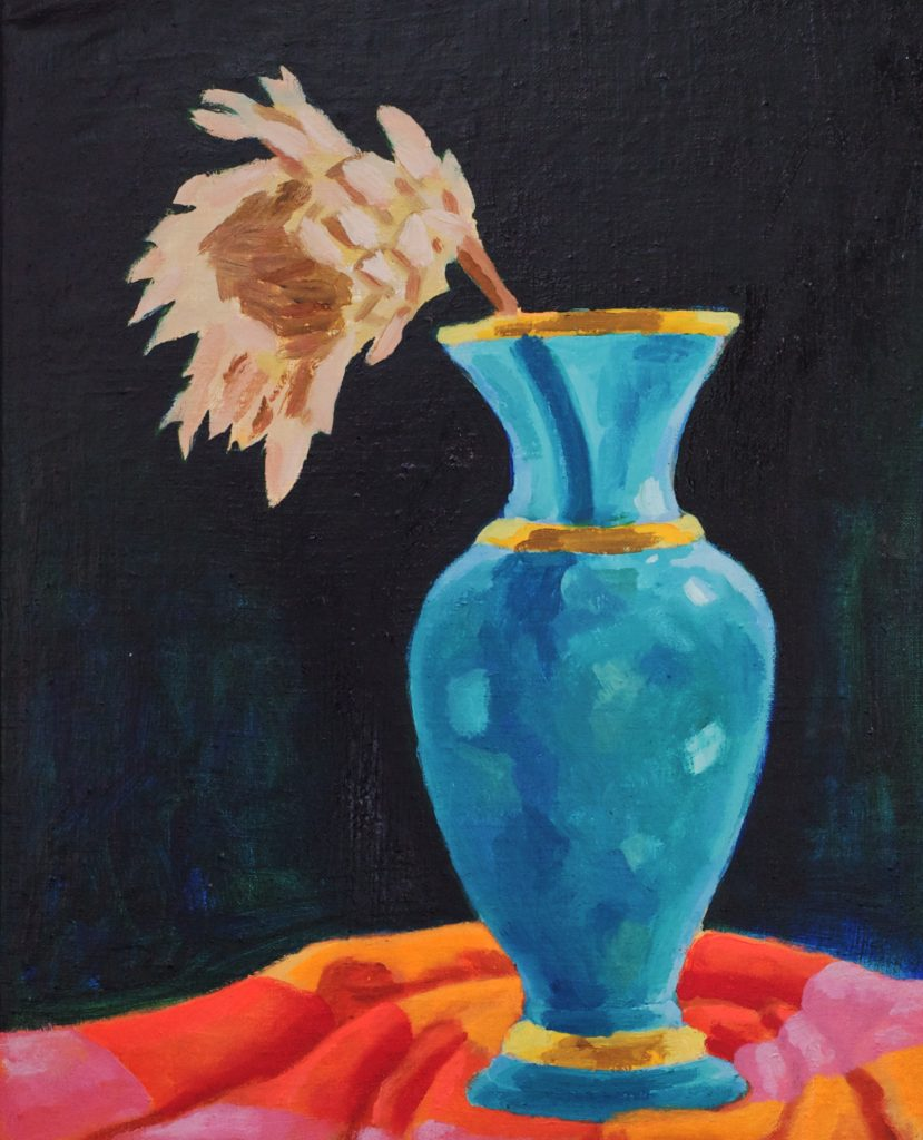 Blue Vase 12 x 15 inches oil on linen