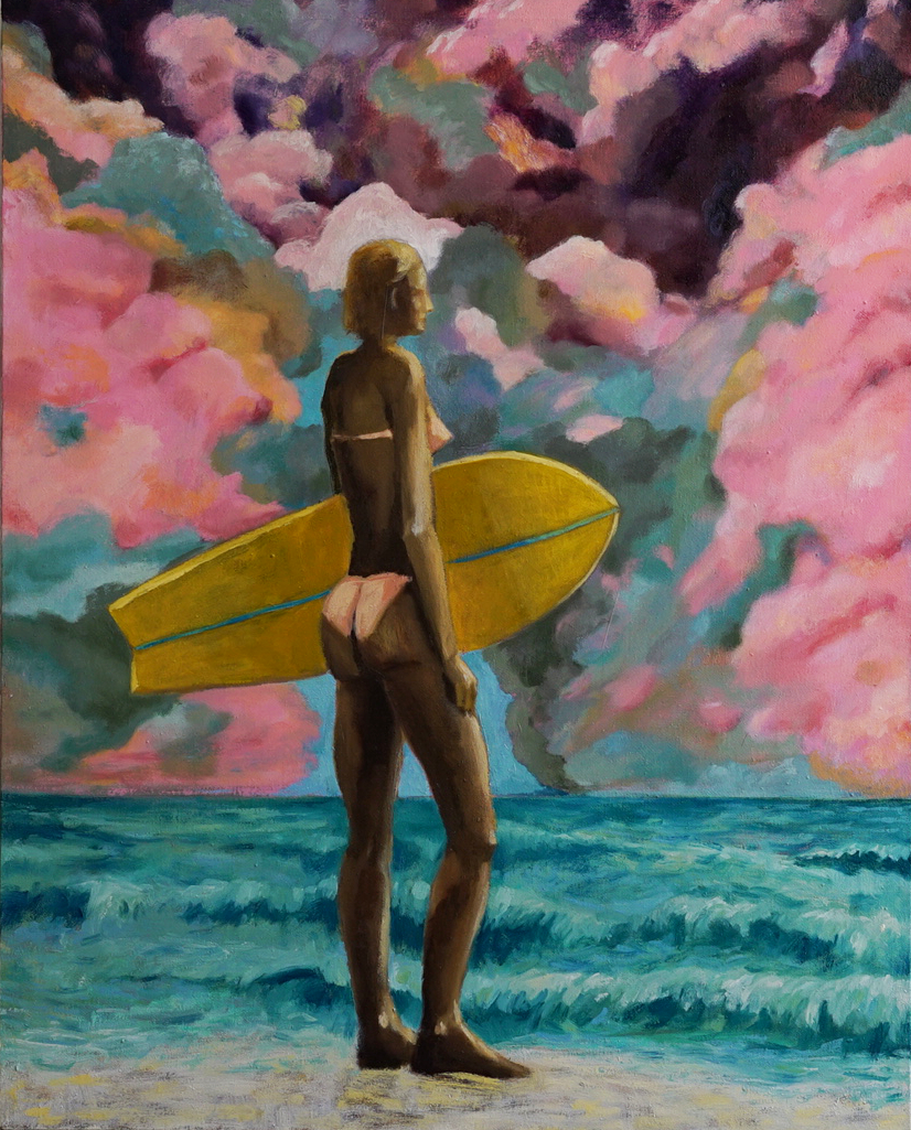 Oil painting of woman standing on beach holding a yellow surf board